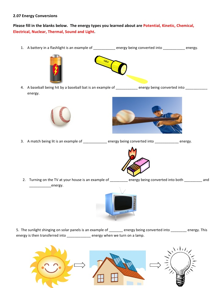 Energy Transformation Worksheet Answer energy transformation – Energy Worksheet Answers